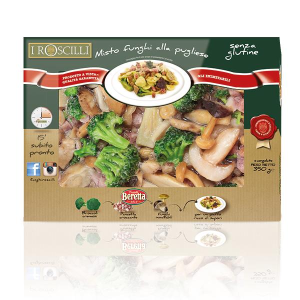 Misto Funghi alla Pugliese - Funghi, broccoli e pancetta BERETTA - SENZA GLUTINE
